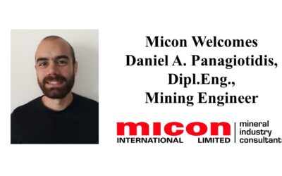 Micon is Delighted to Announce that Daniel Pangiotidis, Dipl.Eng, has Joined Our UK Team as Mining Engineer