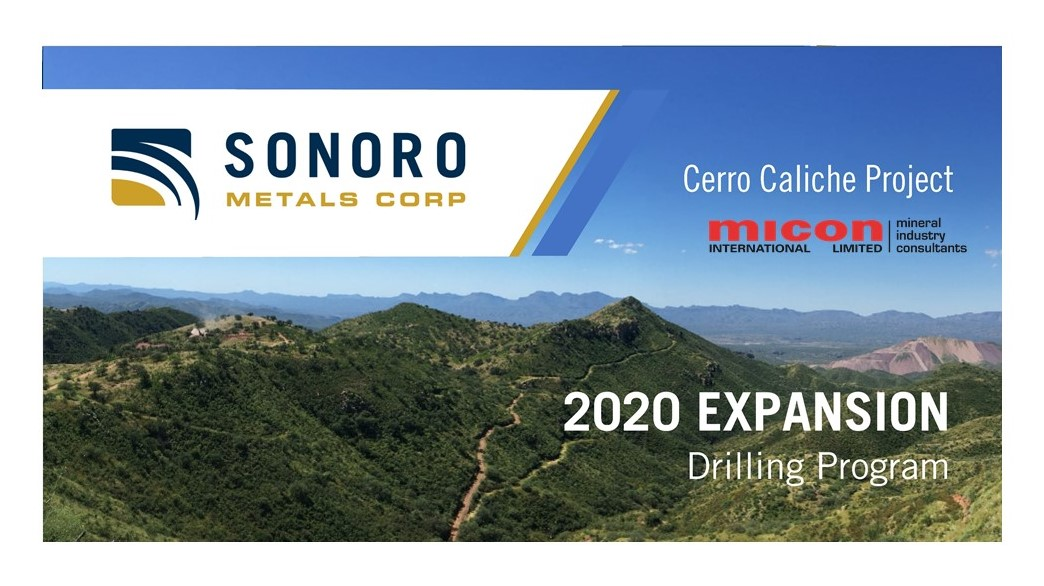 Micon contracted by Sonoro Gold Corp. to complete the updated mineral resource estimate for the Cerro Caliche Project in Sonora State, Mexico